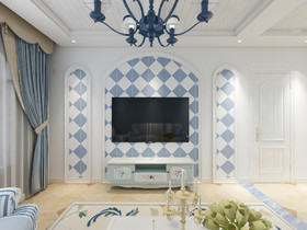 90平米三室两厅地中海风格客厅欣赏图