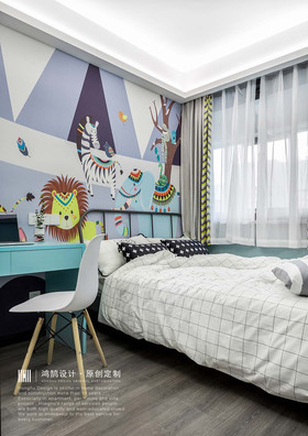 100平米三室两厅北欧风格儿童房装修图片大全