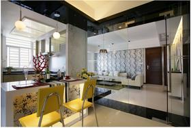 富裕型90平米三室两厅现代简约风格餐厅图