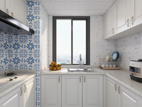 90平米三室两厅地中海风格厨房效果图