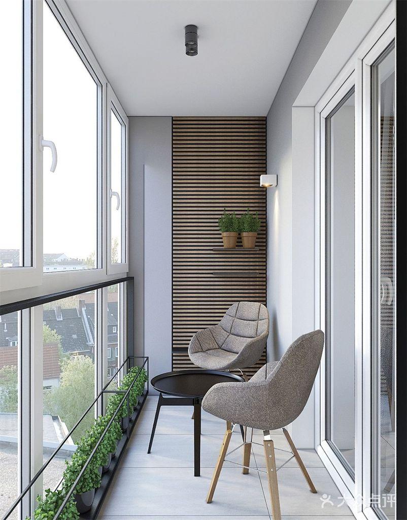 5-10万50平米公寓现代简约风格阳台设计图