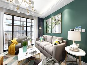 90平米現代簡約風格客廳設計圖