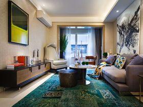 70平米三室兩廳混搭風格客廳效果圖