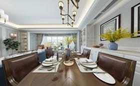 140平米三美式风格餐厅图