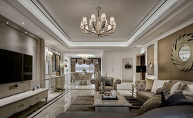 110平米三新古典风格客厅图片大全