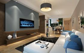 80平米三室两厅现代简约风格客厅效果图