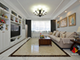 100平米三室兩廳美式風格客廳設計圖