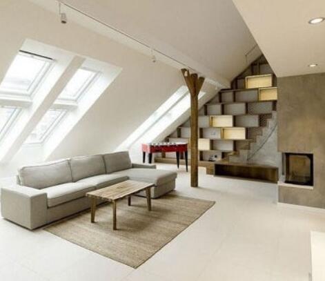 斜顶阁楼客厅背景墙装修效果图设计