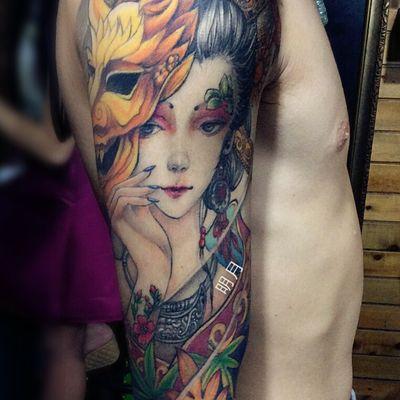 艺伎系列纹身图-大众点评纹身图案大全