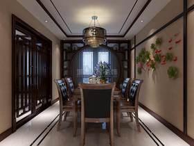 140平米三室兩廳中式風格餐廳設計圖