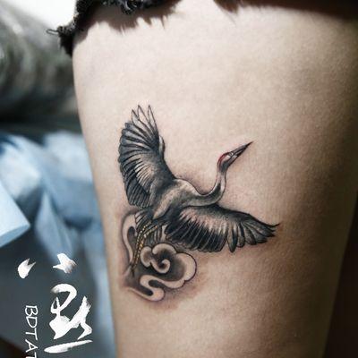 仙鹤纹身图-大众点评纹身图案大全