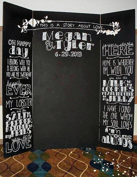 黑板手绘背景墙 婚礼上别具一格的风景