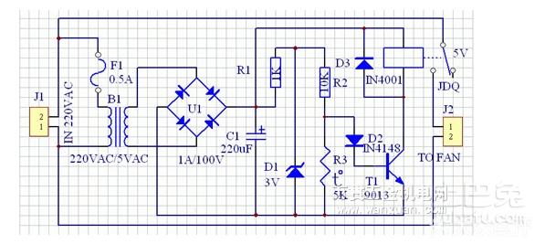 给控制电路工作,另一路与继电器串联到排气扇.
