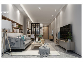 100平米三室两厅现代简约风格客厅装修图片大全