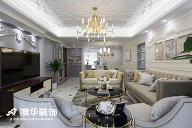 富裕型90平米美式风格客厅图