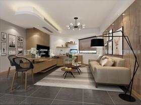 富裕型90平米現代簡約風格客廳裝修效果圖