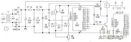 时间继电器是一种利用电磁原理或机械原理实现延时控制的控制电器。它的种类很多,有空气阻尼型、电动型和电子型和其他型等。早期在交流电路中常采用空气阻尼型时间继电器 ,它是利用空气通过小孔节流的原理来获得延时动作的。它由电磁系统、延时机构和触点三部分组成。 时间继电器凡是继电器感测元件得到动作信号后,其执行元件(触头)要延迟一段时间才动作的继电器称为时间继电器   目前最常用的为大规模集成电路型成的时间继电器,它是利用阻容原理来实现延时动作。在交流电路中往往采用变压器来降压,集成电路做为核心器件,其输出采用小型