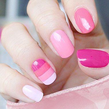 粉色 圆形 手绘 简约美甲图