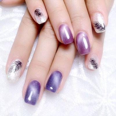 猫眼 紫美甲图