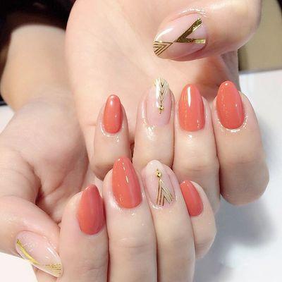 橙色 尖形 金银线 日式 简约美甲图