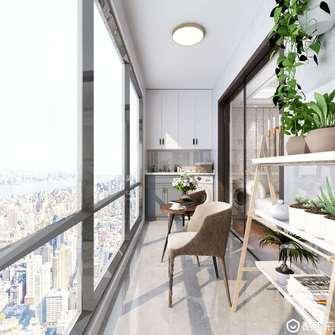 富裕型120平米三室两厅美式风格阳台图