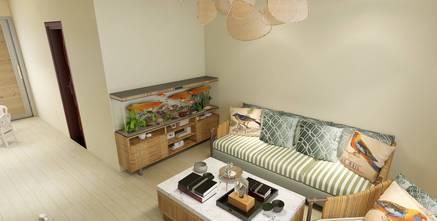 50平米田园风格客厅图片