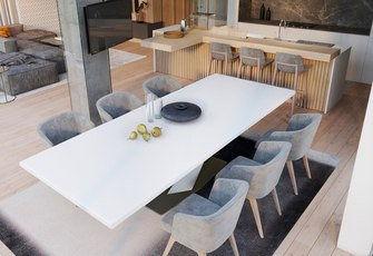 豪华型140平米四室一厅现代简约风格餐厅装修案例