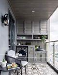 富裕型120平米三室两厅美式风格阳台装修图片大全