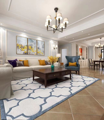富裕型三室两厅美式风格客厅装修案例