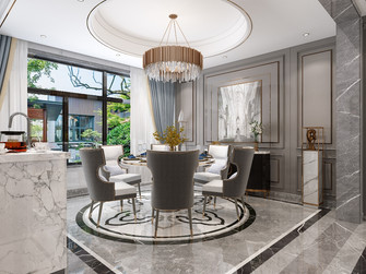 富裕型120平米三室两厅英伦风格餐厅装修图片大全