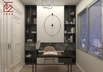 经济型110平米三室一厅混搭风格书房图