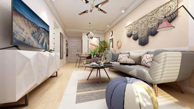 80平米一室一厅混搭风格客厅图片