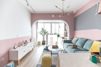 富裕型60平米公寓混搭风格客厅图片大全