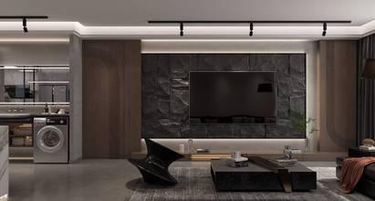 富裕型120平米一居室现代简约风格客厅图