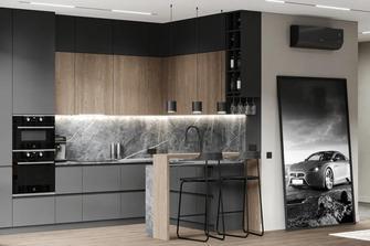 140平米现代简约风格厨房图片