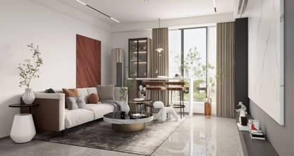 120平米三轻奢风格客厅装修案例