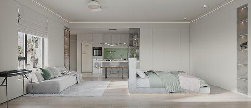 豪华型一居室现代简约风格卧室效果图