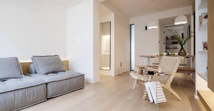 富裕型80平米三室一厅现代简约风格客厅图片大全