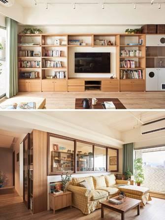 110平米三室两厅日式风格客厅效果图