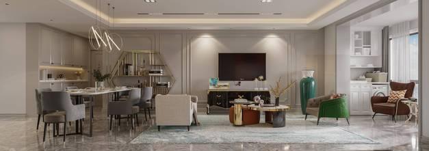 120平米三欧式风格客厅图