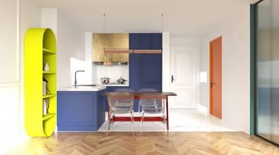 20万以上60平米一居室混搭风格厨房装修效果图