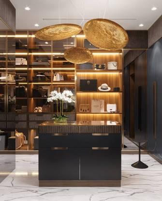 富裕型140平米三室两厅轻奢风格餐厅欣赏图