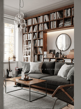 15-20万120平米三室两厅新古典风格书房图片