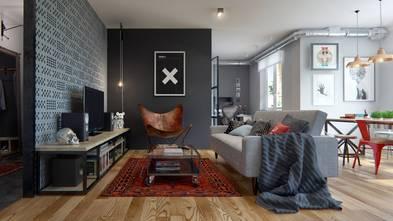 60平米公寓北欧风格客厅装修效果图