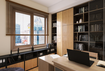 140平米三室两厅日式风格书房欣赏图