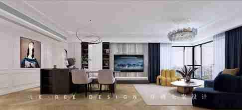 豪华型110平米三室一厅法式风格客厅效果图