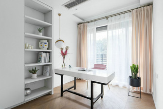 富裕型120平米三室两厅北欧风格书房欣赏图