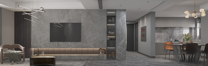 20万以上120平米现代简约风格客厅图片
