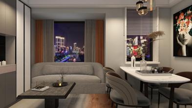 80平米一室一厅现代简约风格客厅设计图