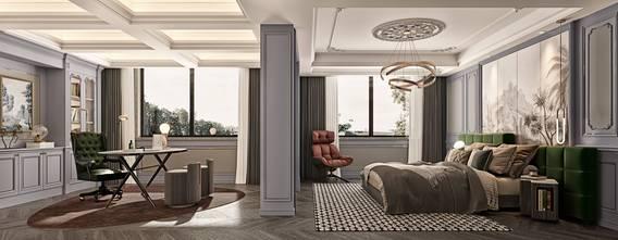 140平米中式风格卧室装修效果图